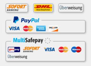 PayPal • MultiSafepay • Sofortüberweisung • Kreditkarte (Visa, Maestro, Mastercard, Amex) • GiroPay • Überweisung • DHL Nachnahme